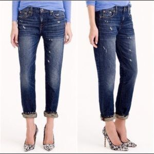 J. CREW DARK DISTRESSED BROKEN IN BOYFRIEND JEAN